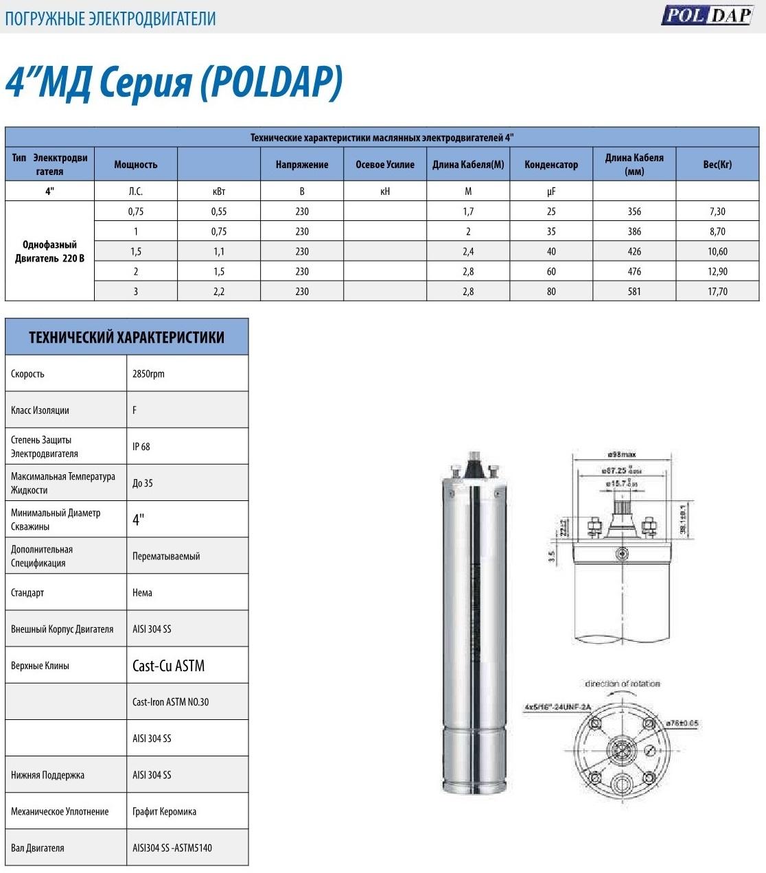 """4"""" 1-фазный маслонаполненный двигатель POLDAP, Турция,   0,75 кВт"""